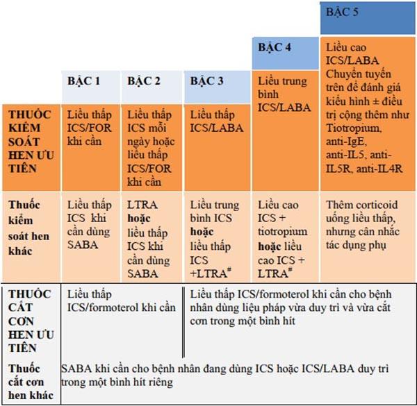 Điều trị hen phế quản theo bậc ở người lớn và trẻ em ≥ 12 tuổi